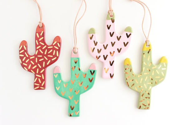Polka Dot Colorblock Tip Cactus Ornament