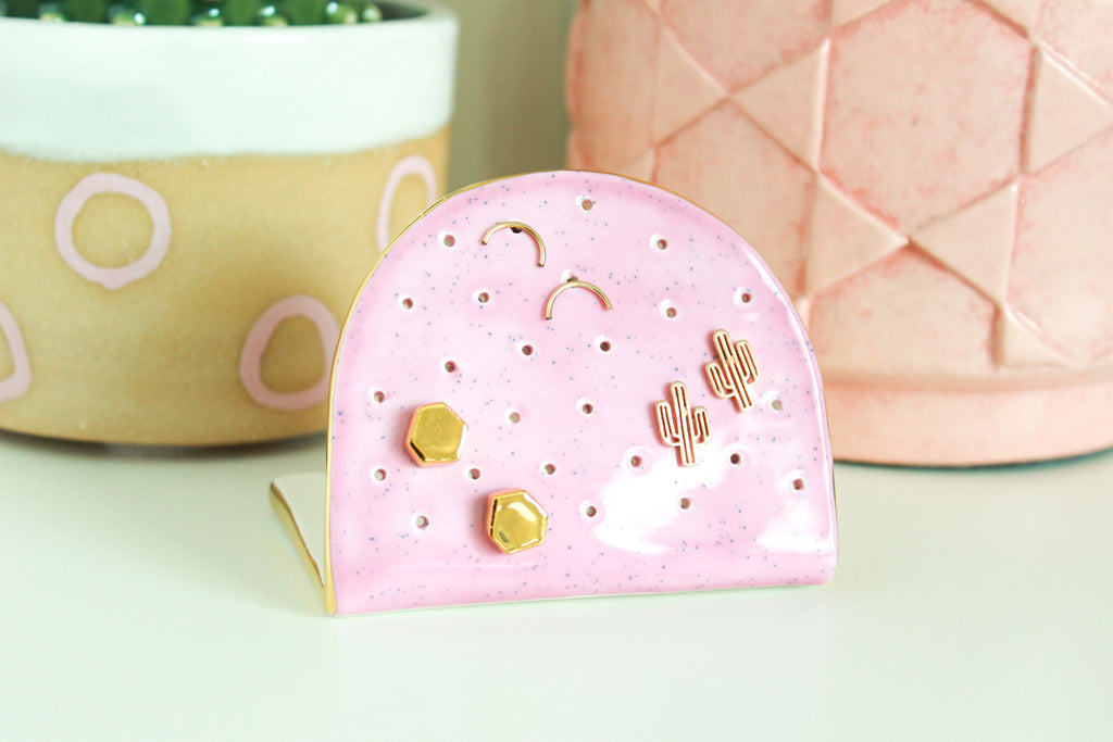 NEW! Pink Speckle Half Circle Earring Holder