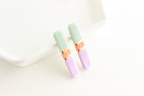 NEW! Colorblock Long Bar Stud Earrings
