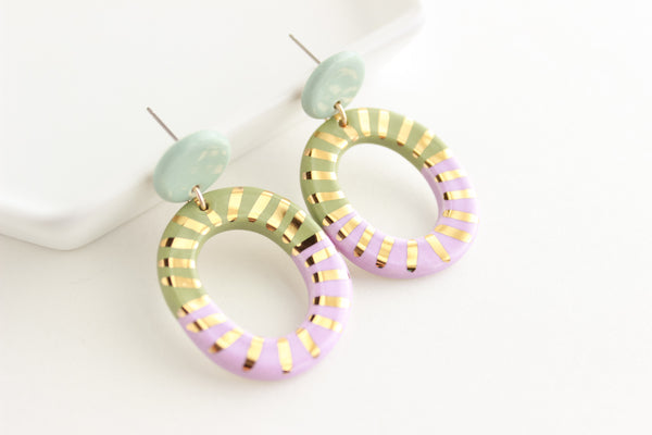 Blue and Sage/Lilac Sunburst Cutout Statement Earrings