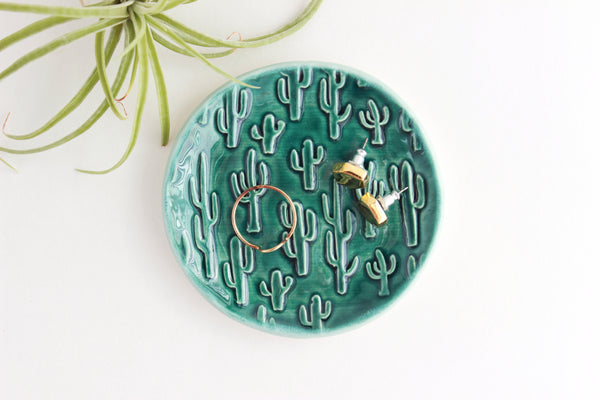 Emerald and Dusty Blue Cactus Ring Dish / Plant Collection