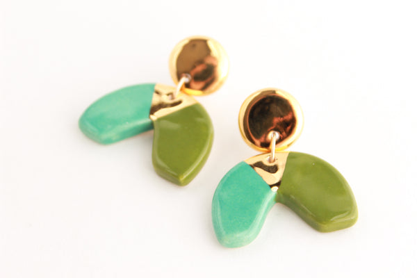 Colorblock Half Circle Statement Earrings with Triangle Cutout