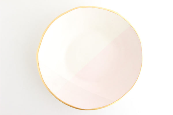 Matte Color Block Bowl with Gold Rim