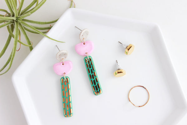 Valentine Collection / Dash Bar Triple Statement Earrings