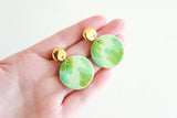 Green Abstract and Gold Statement Earrings