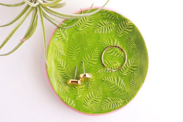Green and Peach Fern Ring Dish / Plant Collection