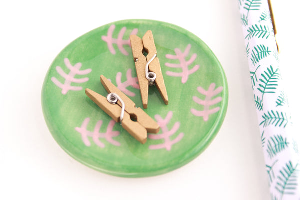 SALE! Green and Pink Fern Mini Ring Dish / Plant Collection