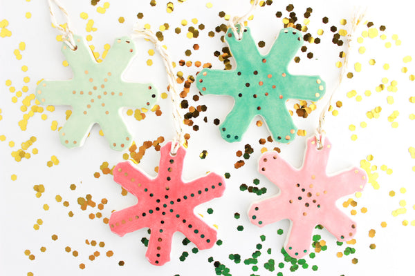 SALE! Gold Dot Snowflake Ornament