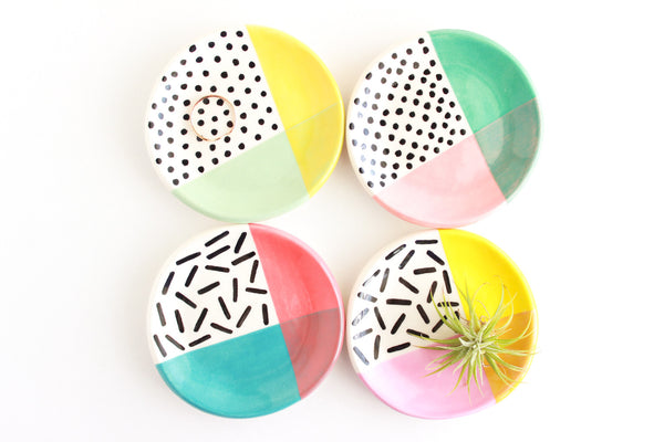 Color Block Patterned Ring Dish