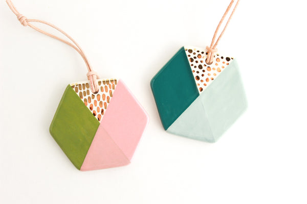 SALE! Colorblock Hexagon Ornament
