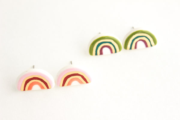 Fall Colored Gold Rainbow Stud Earrings