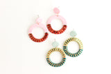Pink/Burgundy Big Round Sunburst Cutout Statement Earrings