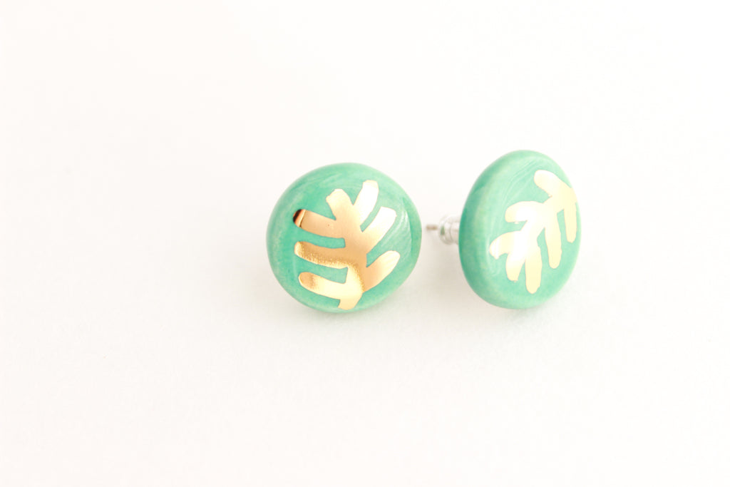 Gold Plant Earrings - Cactus or Fern