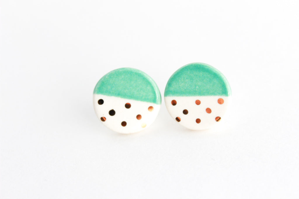 Round Color Block Earrings