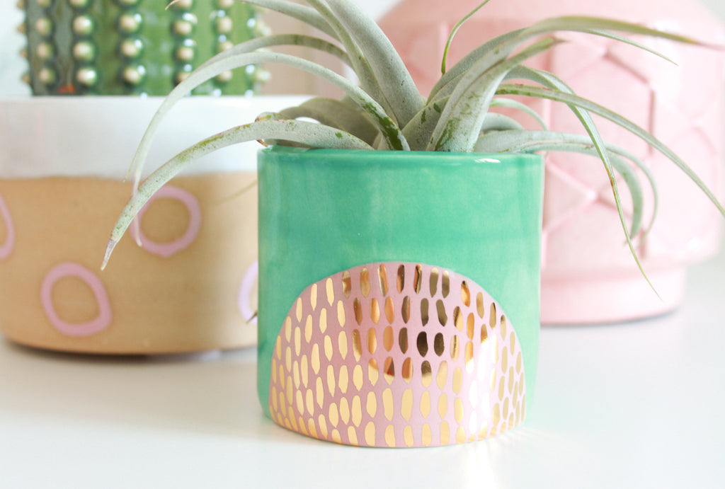 NEW! Gold Patterned Half Circle Mini Planter