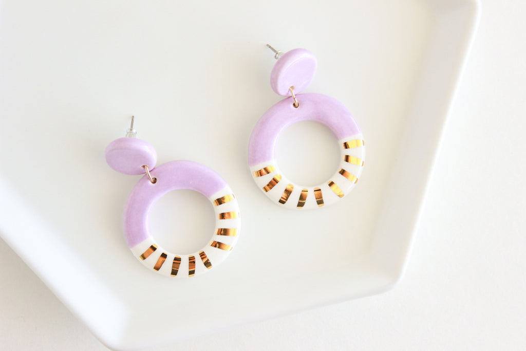 Lilac and Gold Sunburst Round Cutout Statement Earrings