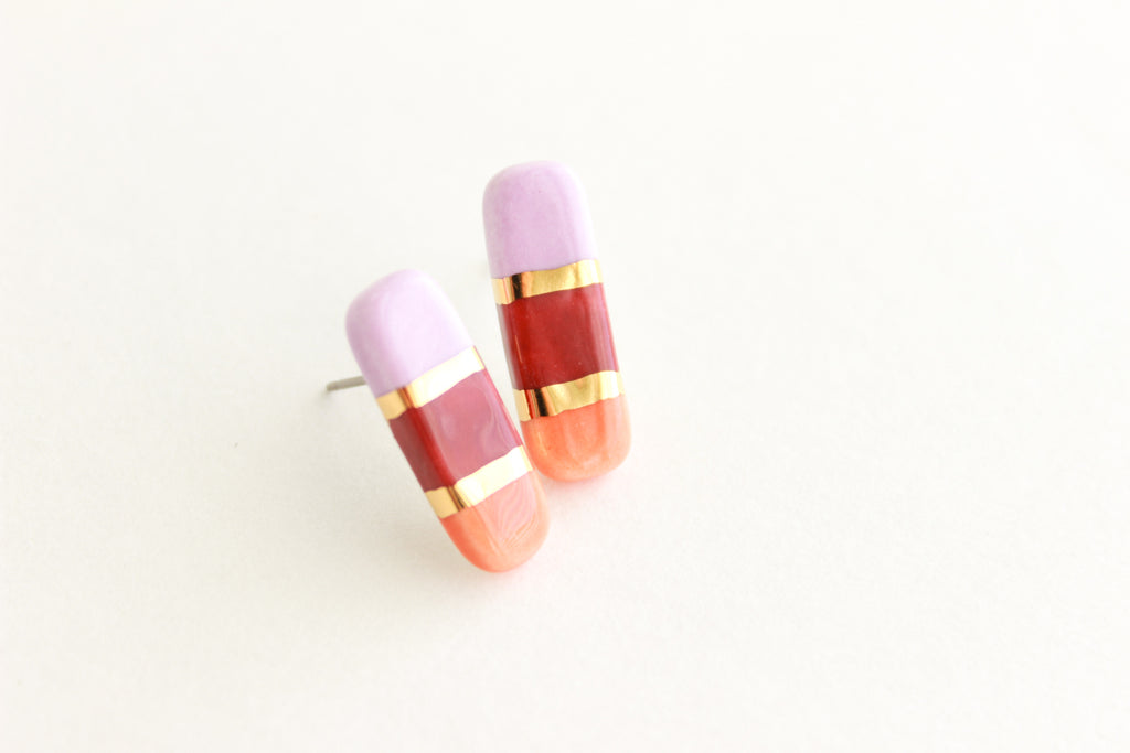 Tri-Color Gold Striped Bar Stud Earrings