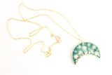 Lily Pad Sideways Moon Necklace