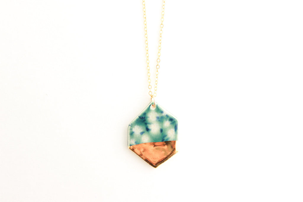 Lily Pad Gold Dipped Gem Necklace