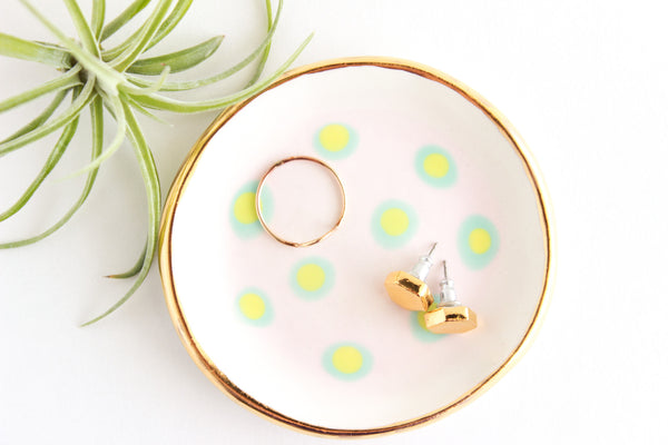 Matte Dot Ring Dish with 22k Gold