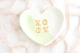 Pastel Color Block XOXO Heart Ring Dish