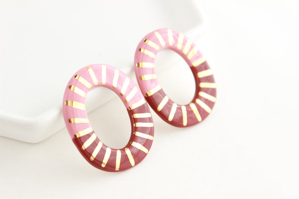 Mauve/Burgundy Oval Sunburst Cutout Statement Earrings