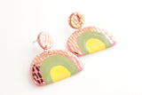 Tri-Color Top Patterned Half Circle Statement Earrings