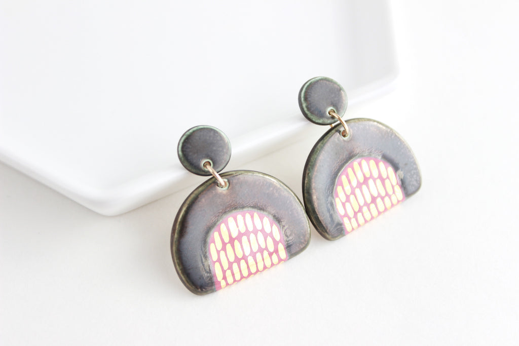 Gold Dash Half Circle Statement Earrings