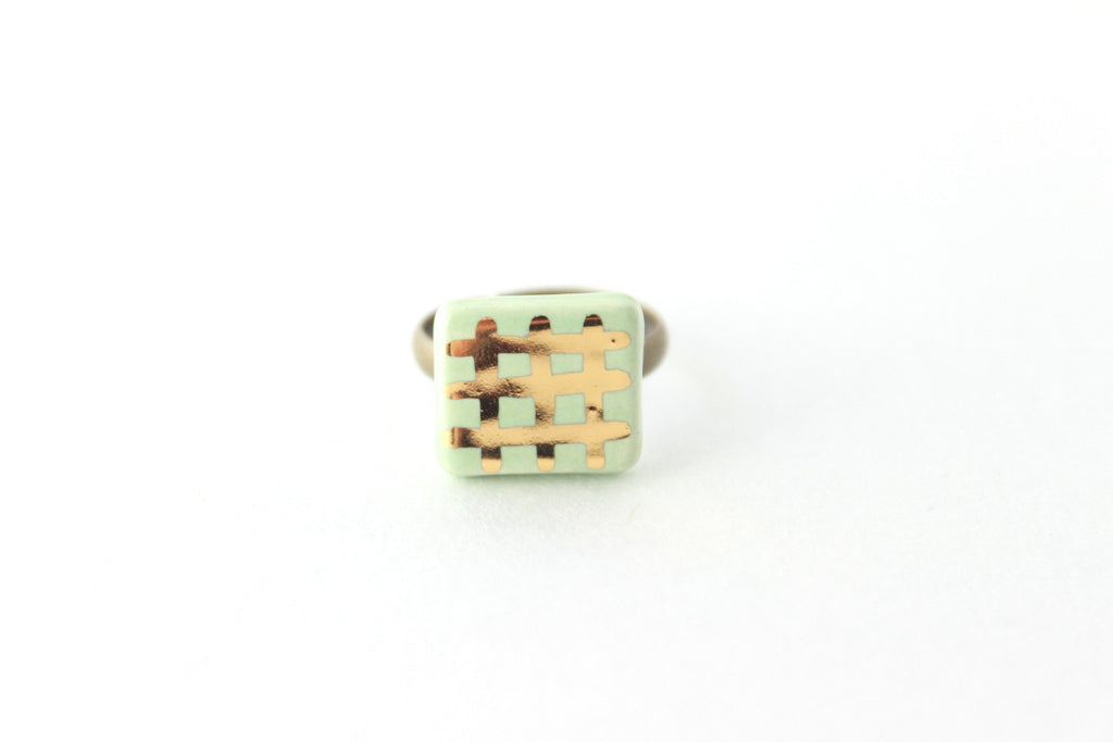 SALE! Mint and Gold Grid Ring