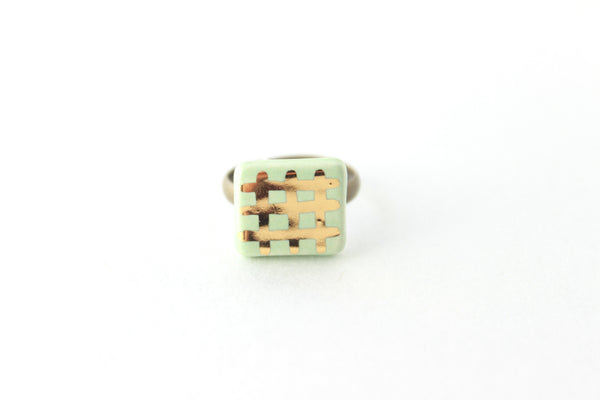 Mint and Gold Grid Ring