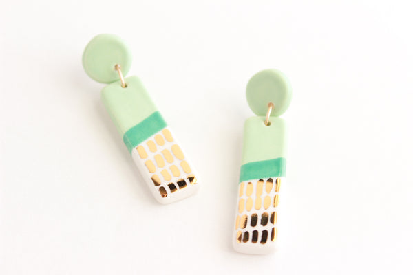 Colorblock Gold Dash Bar Statement Earrings