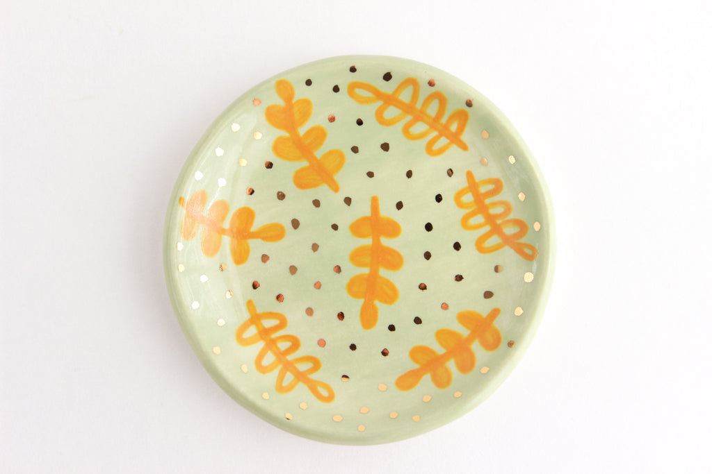 SALE! Illustrated Fern Ring Dish / Plant Collection