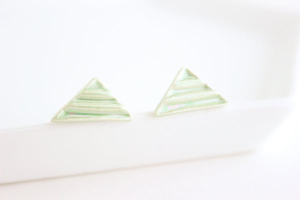 Mint Pearl Triangle Earrings