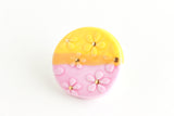 SALE! Pink and Yellow Colorblock Daisy Pin / Plant Collection