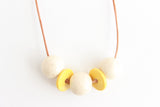 Cream Speckle and Mustard Beaded Necklace