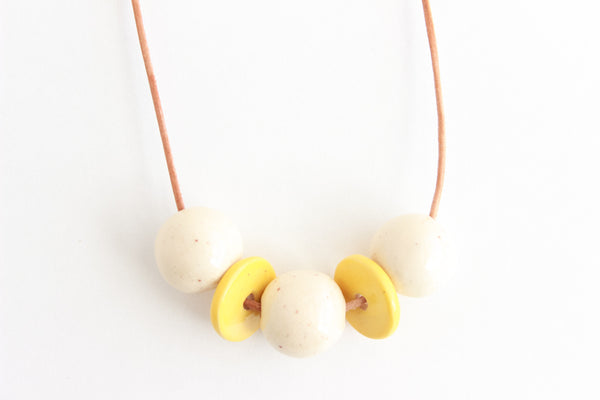 SALE! Cream Speckle and Mustard Beaded Necklace