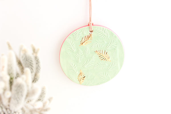 Mint and Coral Round Fern Ornament/Mini Wall Hanging