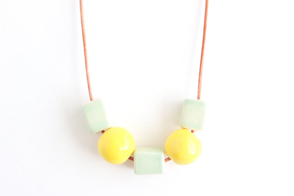 Mint and Yellow Beaded Necklace