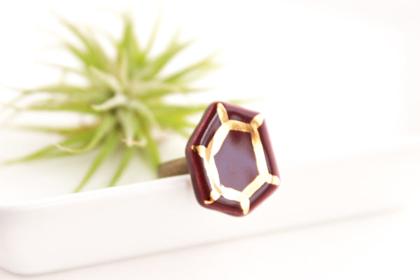 Deep Purple and Gold Gem Ring