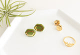 Olive Gold Gem Earrings