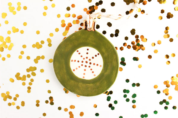 SALE! Round Olive Green and Gold Ornament