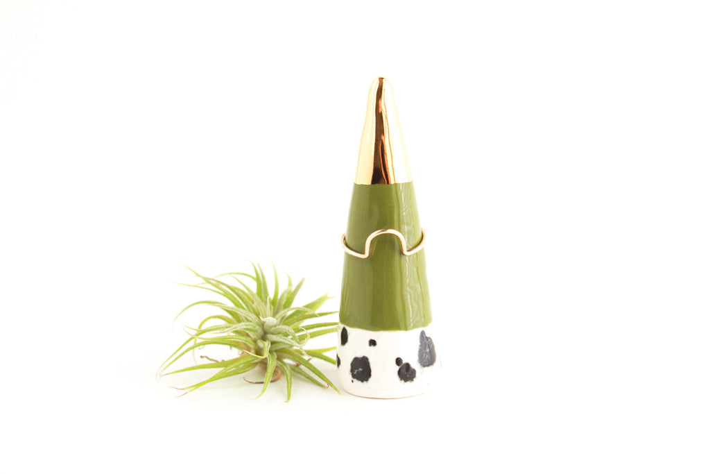 Olive Gold Tipped Ring Cone