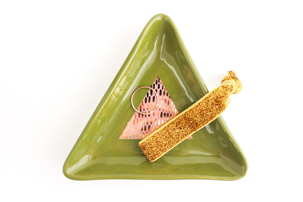 Color Block Triangle Ring Dish with Gold Dashes