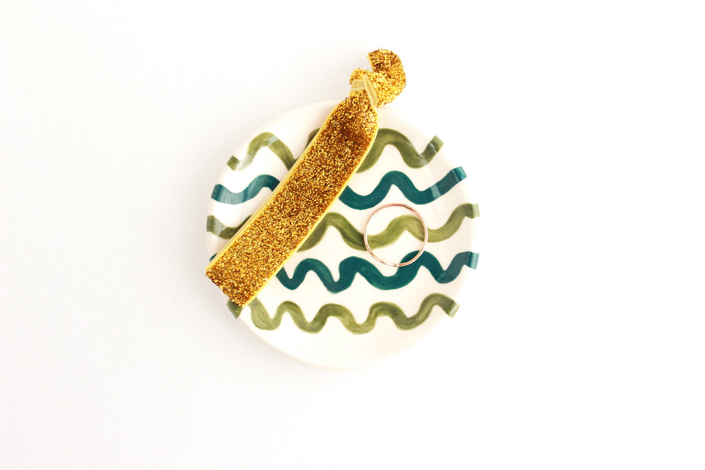 Teal and Olive Wavy Line Ring Dish