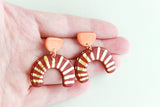 NEW! Orange/Burgundy Sunburst Cutout Statement Earrings