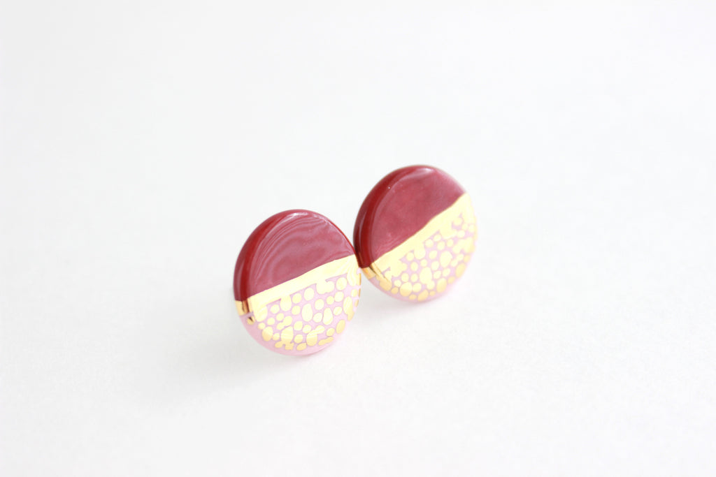 Pink/Burgundy Gold Dot Round Stud Earrings