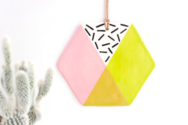 Color Block Hexagon Wall Hanging