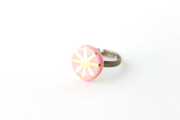Peach and Gold Star Ring