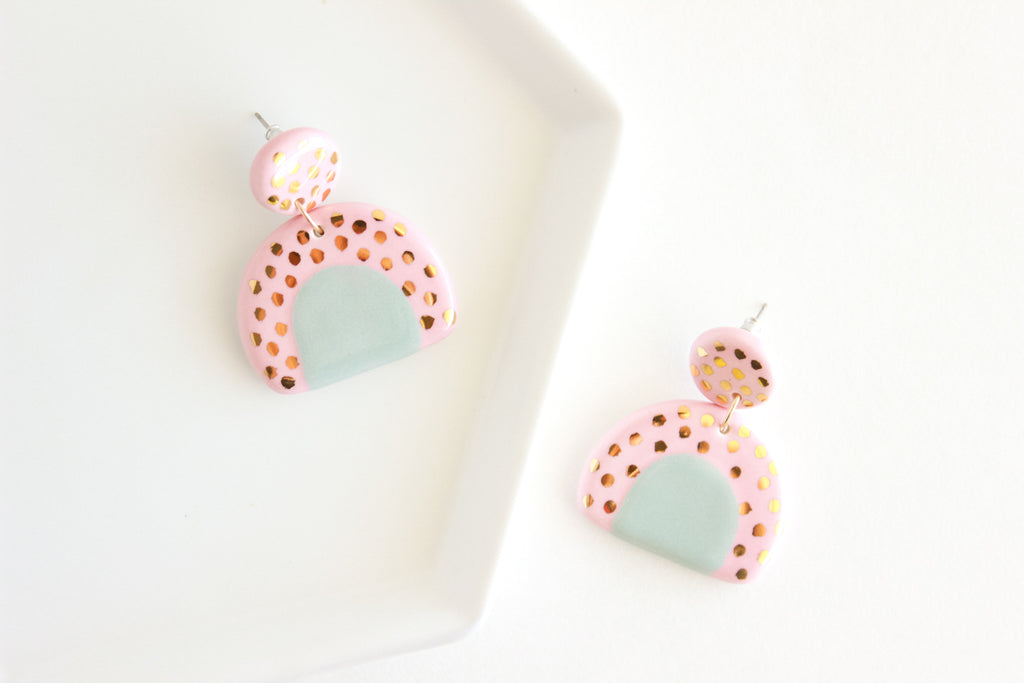 Pink/Dusty Blue Top Patterned Half Circle Statement Earrings