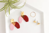 NEW! Pink/Burgundy Big Half Circle Statement Earrings with Triangle Cutout